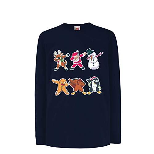 lepni.me Kinder-T-Shirt mit Langen Ärmeln Weihnachts Dab - Dabbing Weihnachtsmann-Rotwild-Schneemann (14-15 Years Blau Mehrfarben)