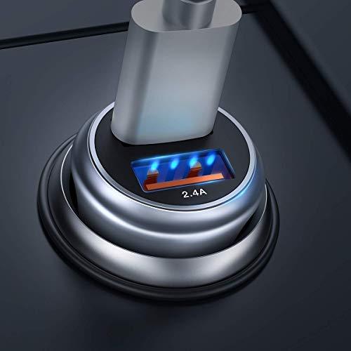 Caricabatteria auto usb, quick charge 3.0 caricatore adattatore universale qc 3.0 caricabatterie da auto 2 porte alluminio macchina per smartphone e gli altri dispositivi usb by ainope (grigio)
