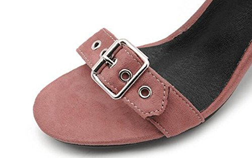 Beauqueen Suede Pumps Open-Toe Anke Straps Chunky High Heel Sommer Gürtel Gürtelschnalle Sandalen Casual Customized Europa Größe 34-43 Black