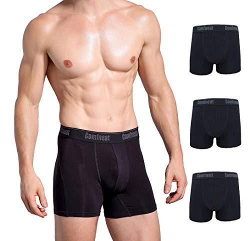 Comfneat Herren 3er-Pack Bamboo Ultra Soft Bequemer Atmungsaktiv Boxer Brief Unterwäsche groß Alles schwarz -