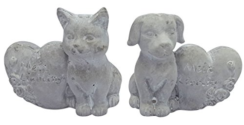 Fachhandel Plus Steinfigur Grabdeko Hund oder Katze mit Herz 'Mein Liebling' Grabschmuck Gedenkstein, Motiv:Hund