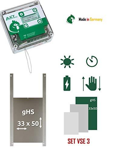 AXT-Electronic Set VSE 3 - Automatische Hühnerklappe VSE mit Batterien, integrierte Zeitschaltuhr, Gänsetür gHS 33x