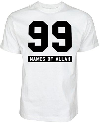 99 Names of Allah | ISLAMISCHE STREETWEAR KLEIDUNG FÜR MUSLIME T SHIRT BEDRUCK OUTDOOR ISLAM FASHION (XXL, Weiß)