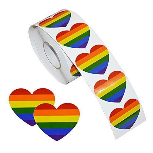 Vidillo Regenbogen-Aufkleber, Gay Pride Novely Aufkleber Rolle, 500 Stück Hear Shaped Wasserdicht Removable Rainbow Aufkleber Temporäre Tattoos für Gay Pride Celebrations