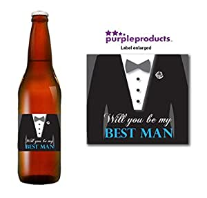 Will you be My Best Man Beer Label Thank you for your help, Wedding Day, Marriage, Party Beer, Lager, Cider, Ale bottle label Celebration Gift, Present idea.
