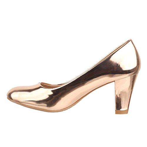 Elara Damen Pumps | Bequeme High Heels Lackoptik Trichterabsatz | Vintage-Style | Chunkyrayan 7056-P-Champagner-38 - 2
