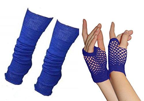 Adultes Court & Long Fingerless Gants résille et ensemble de réchauffeur de jambes Raves Parties 1980s Déguisements - Pick & Mix (Jambières et petits gants en maille - bleu royal)