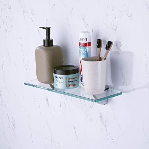 Kes mensola in vetro da bagno con fondo in vetro e asta vetro temperato 350 x 118 mm cromato, bgs3200s35