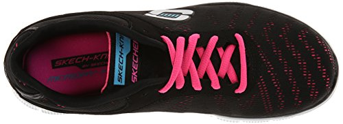 Skechers Flex Appeal First Glance, Chaussons Sneaker Femme Noir (Bkhp)