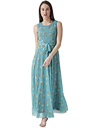 THE VANCA Women's Flared Printed Maxi Dress with Waist tie up