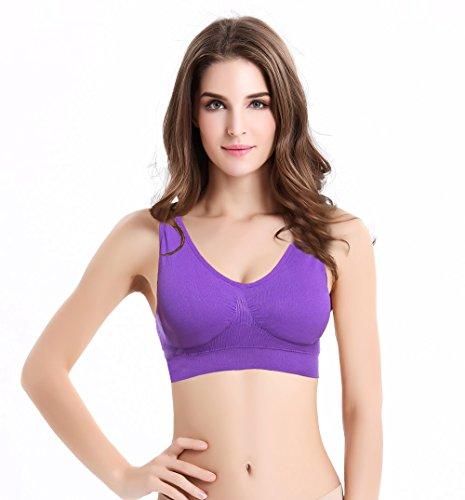 Wirarpa Femme Soutien-Gorge Sport Yoga Bandeau Sans Armature Bra Lingerie Violet