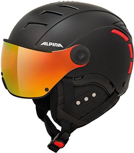 Alpina Erwachsene Jump 2.0 QVMM Skihelm, Black-red matt, 55-58 cm