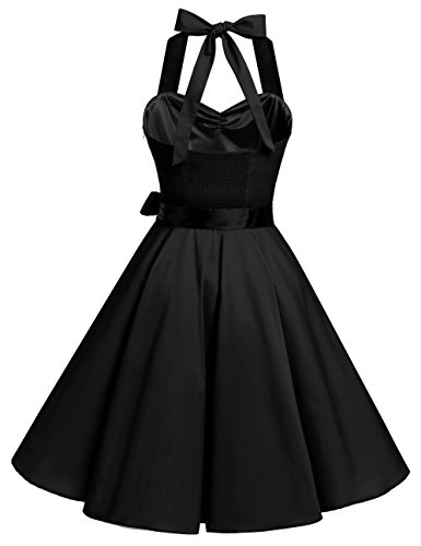 Bbonlinedress 1950er Neckholder Vintage Retro Rockabilly Cocktail Party Kleider Black 2XL - 3