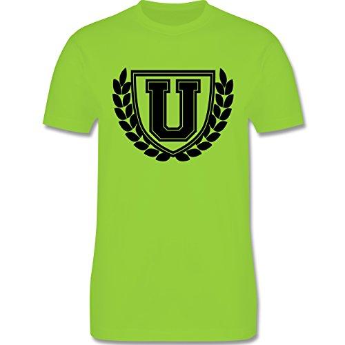 Anfangsbuchstaben - U Collegestyle - Herren Premium T-Shirt Hellgrün