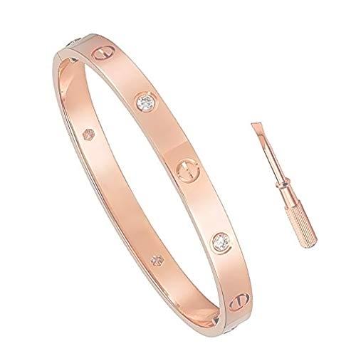 EisEyen Love Armband Ring, Rose Gold Weißer Stahl Hochzeit Ring, 18 K Titan Stahl Schraube Armband für Frauen Männer, Schnalle Armreif Armband Schraubendreher