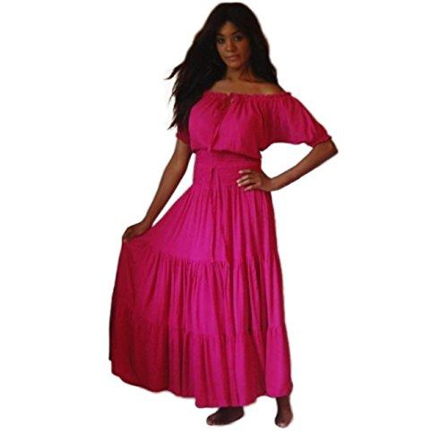 LOTUSTRADERS Damen Kunstseide Crinkle Maxi Ländlich Kleid Fantastisch Design Rosa