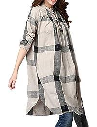 TEBAISE Mid Season Mode Frauen Outdoor Dating Home Party Casual Patchwork 1/2 Ärmeln Baumwolle Leinen Lose Taschen Tunika Kleid Rock