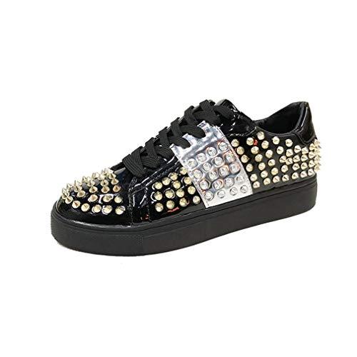 YAN Damenschuhe Spring Fall Lace-Up Kleinleder-Schuhe Bullock Schuhe Vintage Ladies Schuhe Low-Top Casual Shoes Outdoor Walking Schuhe,Black,38