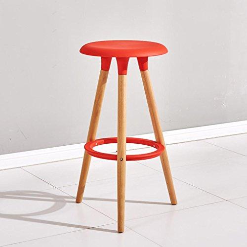 Lh$yu Modepersönlichkeit Massivholz Barhocker Barhocker Hoher Stuhl Runder Stuhl Haushalt 76 * 47 * 38cm, bar Chair (red) More Comfortable - Dinner-stühle Red