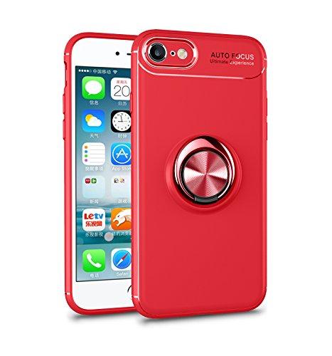 iPhone 6S Hülle , iPhone 6 Handyhülle mit Ring Kickstand - Mosoris Premium Silikon Shell mit 360 Grad Drehbarer Ständer und Handyhalterung Auto Magnet Ring , Stoßfest Rüstung Schutzhülle Bumper Tasche Case Cover für iPhone 6 / 6S,Rot + Rot