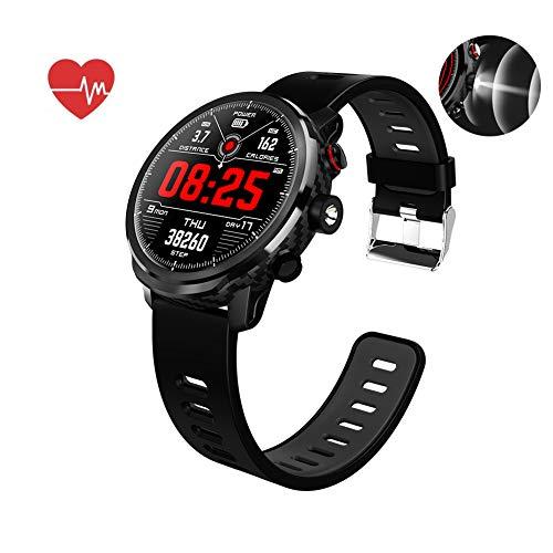 Smart Watch, Wasserdichtes IP68 musiksteuerung, Herzfrequenzmesser Fitness Tracker, Taschenlampe, Schrittzähler Uhr Kinder Frauen Männer, Kompatibel mit iPhone Samsung S9,Black