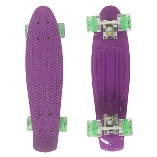 """WeSkate Cruiser Skateboard Retro Mini Komplettboard, 22"""" 55cm Vintage Skate Board mit Kunstsoff Deck und blinkenden LED-rollen mit LED Leuchtrollen für Erwachsene Kinder Jungen Mädchen"""