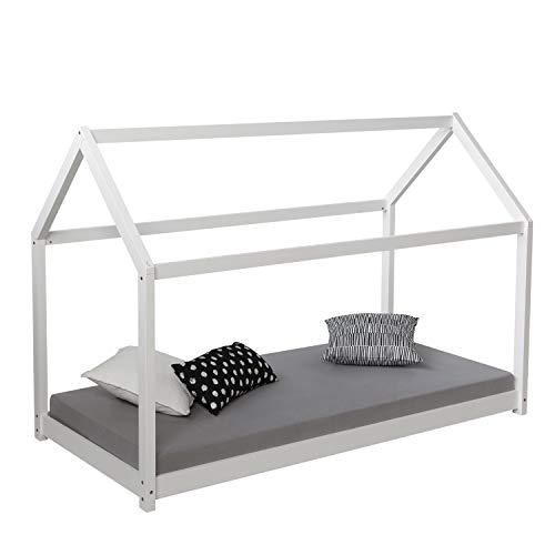 Homestyle4u 1849, Kinderbett Mit Lattenrost, Hausbett 90x200 Weiss, Holz Kiefer - Moderne Möbel Aus Kiefernholz