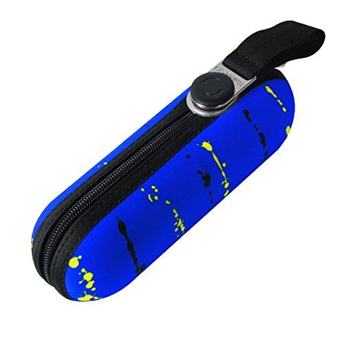 Knirps X1 Mini Regenschirm Taschenschirm Schirm paint stripes neon blue