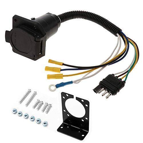 Anhängerstecker-Adapter 4-polig auf 7-polige Steckdose Steckdose mit Halterung UA1427K Auto Netzadapter wetterfest Feste Schnellverbindung (schwarz)