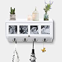 AHDECOR Wall Mounted Coat Rack Shelves Hanging Entryway Shelf with Photo Openings 8 Hooks, White, 50.8 x 26.9 x 14.5cm