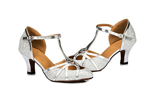 Mulheres Das Salsa Meijili De Sapatos Prata Ballrom Tango Salto Alta Latina Dança Moderno PATwqv