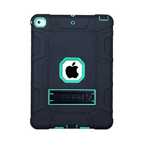 Yoomer Schutzhülle für iPad 9.7 2017/2018, dreilagig, robust, stoßfest, mit Ständer, Black+Light Aqua Hybrid Fusion Protector