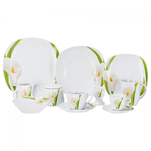 Kombiservice Calla 62-teilig eckig Porzellan für 6 Personen weiß mit Blumendekor