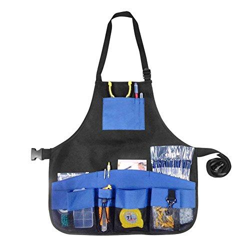 LeRan Wasserdichte Oxford Gartenschürze Multifunktionale Outdoor Gartengeräte Zubehör mit Tuch Taschen für Haustier Bad, Pflanzen, Reinigung