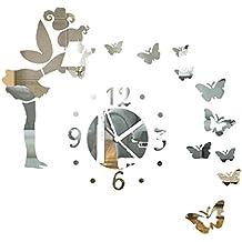 malloom moderno hada de la mariposa espejo diy reloj de pared pegatina de pared decoracin