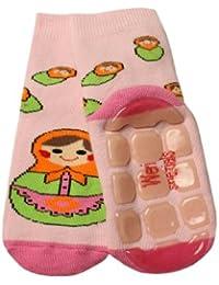 Weri Spezials Unisexe Bebes et Enfants ABS Eponge Matriochka Pantoufle Chaussons Chaussettes Antiderapants Rose