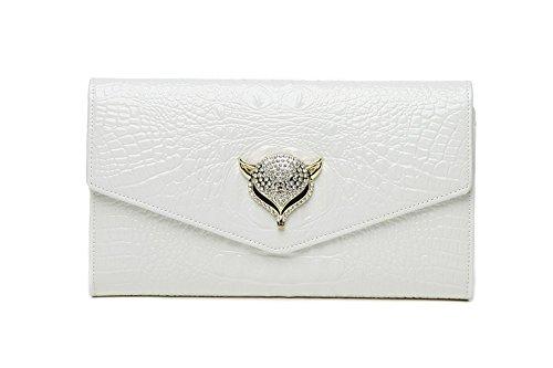 Sacchetto di busta di cuoio, sacchetto di mano, borse oblique, pacchetti di catena, pacchetto di sera delle signore ( Colore : Viola ) Beige
