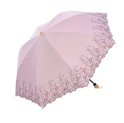 Honeystore Regenschirm, Taschenschirm Blumen Sonnnenschirm mit 85 cm Durchmesser Rosa