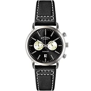Rotary Men's Quartz Watch with Black Dial Chronograph Display and Black Leather Strap GS02730/04