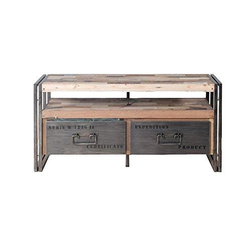 Meuble TV en bois 2 tiroirs - INDUSTRY - L 112 x l 40 x H 55