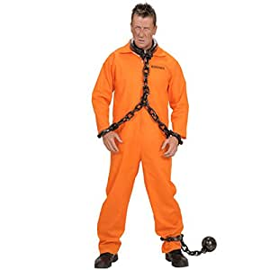 Costume de prisonnier tôlard criminel bagnard détenu Carnaval Mardi gras orange L 50/52