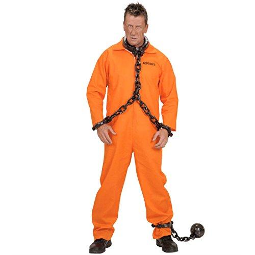NET TOYS Kostüm Gefangener Knasti Schwerverbrecher Sträfling Häftling Karneval Fasching orange L - Schwerverbrecher Kostüm