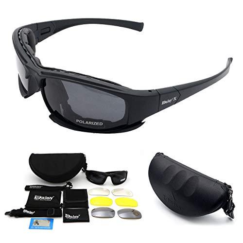 Polarisierte Sport-Sonnenbrille, MASO X7 Armee-Sonnenbrille Militärische taktische Schutzbrillen mit 4 Wechselobjektiv, schützende Gläser für Männer und Frauen im laufenden Radfahren Skifahren Fischen