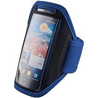 handy-point, Armhalter, Sportarmband für iPhone 6, 6S, Sony Xperia Ion, S, T, V, L, SP, M, M2, Z, Z1 Compact, Z3 Compact, Sony Z5 Compact, E3, ZR, Samsung Core Plus, Grand Prime, Galaxy Express 2, Galaxy S5, S5 Neo, S5 Mini, Galaxy Core, Galaxy Nexus, Galaxy Alpha, Express, Ativ S, S4 Active, Motorola, G, Moto X, Ascend G510, G525, G526, G6, Y530, P2, P8, P8 Lite, HTC Desire 310, 601, HD2, One , One X, One XL, Sensation XL, One Mini 2, Desire 320, 510, 610, 300, 500, Windows 8X, S Plus, Advance, S2, S3, S4, Huawei Y300, Sensation XL, Ascend G510, LG Optimus L9, L9 2, L Fino, L65, G2 Mini, L70, Nokia Lumia 920, 900, 630, Motorola Razar, LG Prada, Halter für Arm zum Joggen, Sport, Armtasche, Armband, Halter für Handy, Halterung für Smartphone, Universell 14cm x 7,8cm mit Fach für Schlüssel / Kopfhörer (S3/S4 Armtasche - Blau)