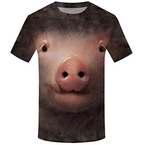 Auied Männer Tierdruck Rundhals T-Shirt Kurzarm Top Bluse