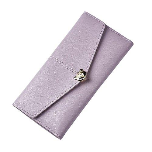 Portafoglio Donna, Tpulling Borsa lunga della borsa della frizione di svago di tempo della borsa del cuoio di modo delle donne (Light Blue) Purple