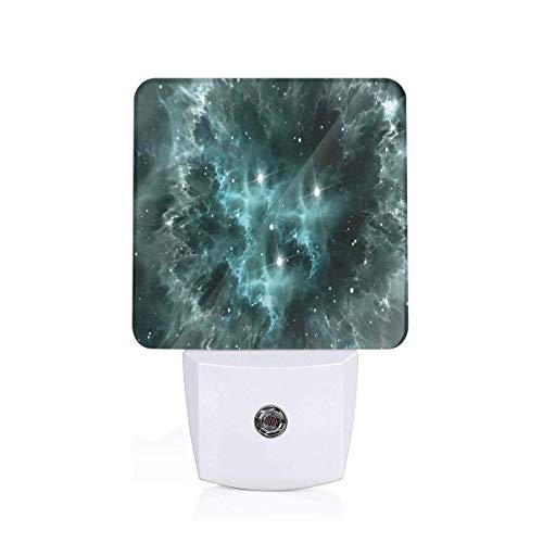 Space Nebula In The Space With Crystal Star Cluster Galaxy Solar System Cosmos Print Plug-in LED Night Light Lamp with Dusk to Dawn Sensor, Night Home Decor Bed Lamp -