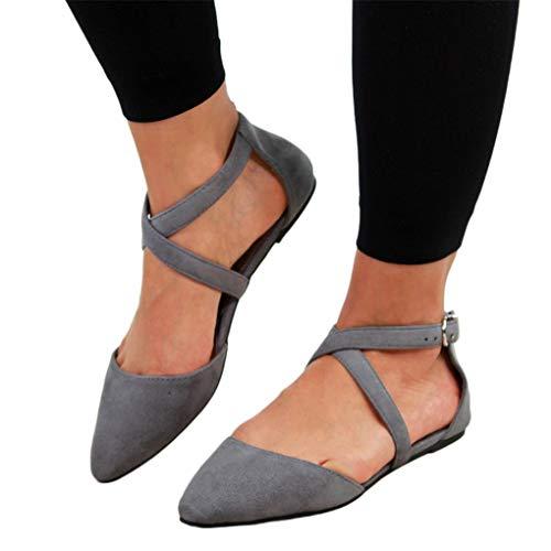 Sommer Halbschuhe für Damen/Dorical Frauen Kreuz Riemchensandale Pointed Toe Sexy Sandalen, Flach mit Schnallen Damenschuhe Mode einfache Wildleder Schuhe 35-43 EU Ausverkauf(Grau,41 EU) -