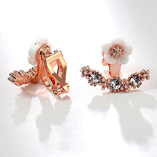 Fawhg S925 Silber Nadel Ohrringe Weibliche Trendy Fashion Temperament Trägt Komfortable Und Nicht Allergisch Mini Mode Blume Ohrclip (Color : Rose Gold - Ear Clips) (Stecker Marienkäfer Kostüm)