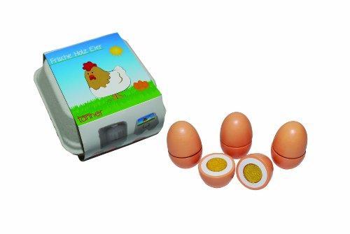 Tanner 0957.6 - Holzspielzeug, 4 Eier zum Schneiden im Karton